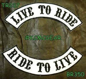 LIVE TO RIDE RIDE TO LIVE Black on White Back Military Patches Set Biker Vest