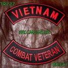 VIETNAM COMBAT VETERAN Red on Black Back Military Patches Set Biker Vest Jacket