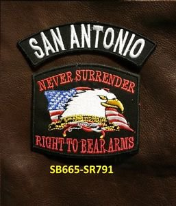 SAN ANTONIO  and NEVER SURRENDER Small Badge Patches Set for Biker Vest Jacket