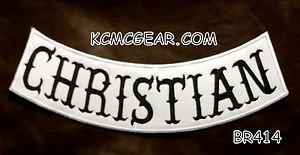 """CHRISTIAN Black on White Back Patch Bottom Rocker for Biker Veteran Vest 10"""""""