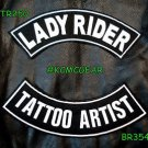 Lady Rider Tattoo Artist Embroidered Patches Motorcycle Biker Patch Set for Jack
