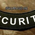 "SECURITY White on Black Back Patch Bottom Rocker for Biker Veteran Vest 10"""