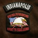 INDIANAPOLIS and NEVER SURRENDER Small Badge Patches Set for Biker Vest Jacket