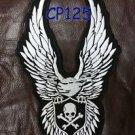 """SKULL AND CROSS BONE EAGLE Biker  Motorcycle Vest Jacket Back Rocker Patches 10"""""""