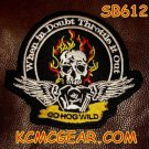 GO HOG WILD Flaming Skull Small Badge for Biker Vest jacket Motorcycle Patch