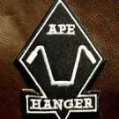APE HANGER Diamond White on Black Small Badge for Biker Vest Motorcycle Patch