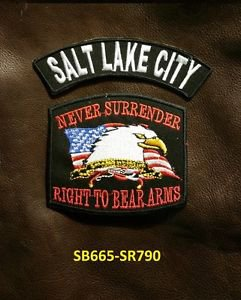 SALT LAKE CITY and NEVER SURRENDER Small Badge Patches Set for Biker Vest Jacket