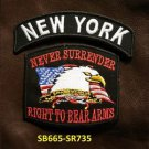 NEW YORK  and NEVER SURRENDER Small Badge Patches Set for Biker Vest Jacket