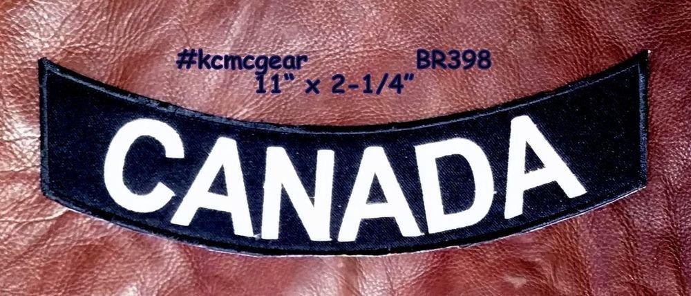 "CANADA White on Black Back Patch Bottom Rocker for Biker Veteran Vest Jacket 10"""