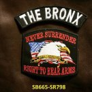 THE BRONX and NEVER SURRENDER Small Badge Patches Set for Biker Vest Jacket