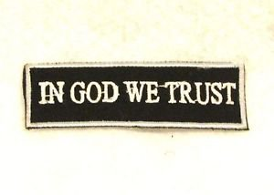 In God we trust White on black with silver border Small Badge Biker Vest Patch