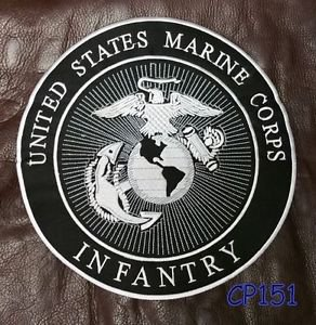 LARGE US MARINE CORPS INFANTRY Biker Motorcycles Vest Jacket Back Patch 10""
