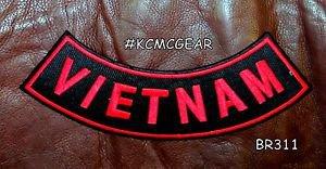 "VIETNAM Red on Black Back Patch Bottom Rocker for Biker Veteran Vest Jacket 10"""
