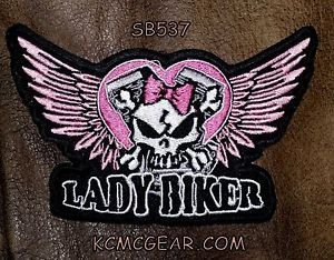 Lady Biker winged Skull Small Badge for Women Biker Vest Motorcycle Patch