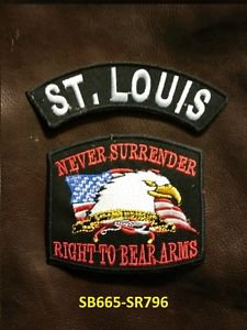 ST. LOUIS and NEVER SURRENDER Small Badge Patches Set for Biker Vest Jacket