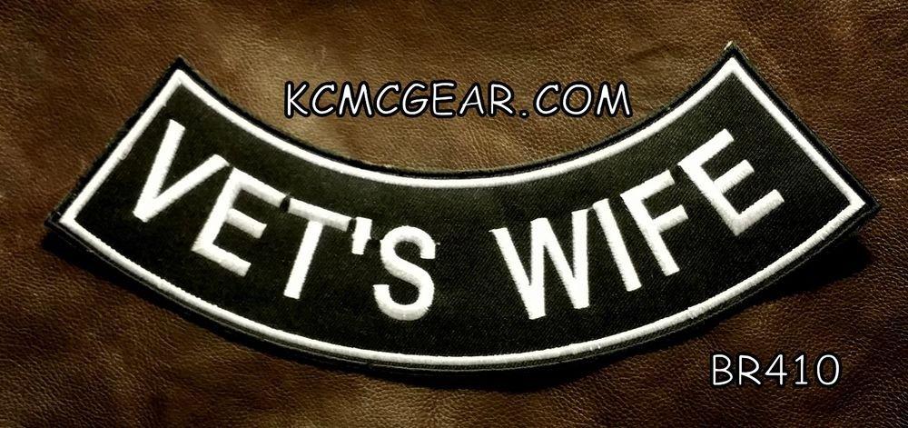 """VET'S WIFE White on Black Back Patch Bottom Rocker for Biker Veteran Vest 10"""""""