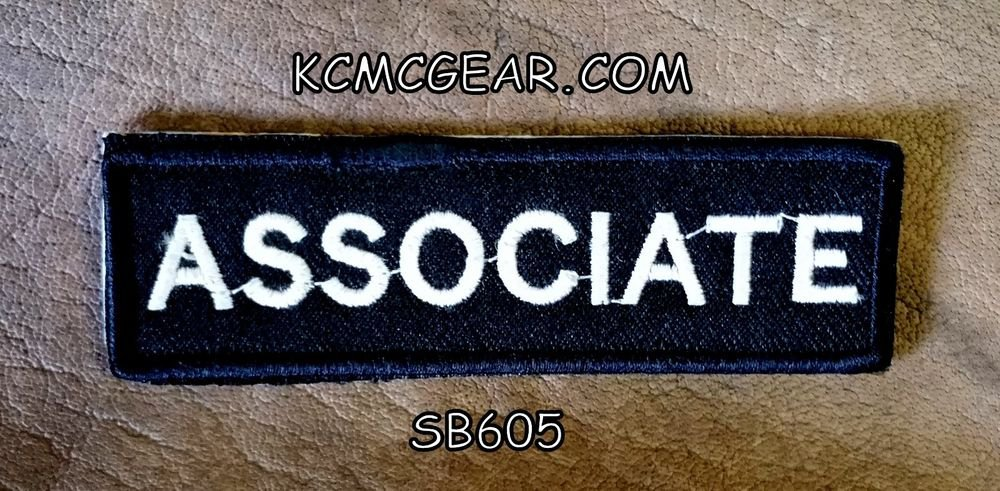 ASSOCIATE  White on Black Small Badge for Biker Vest jacket Motorcycle Patch