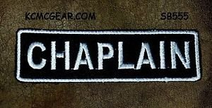 CHAPLAIN White on Black Small Badge for Biker Vest Jacket Motorcycle Patch