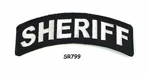 Sheriff White on Black Small Rocker Iron on Patches for Biker Vest Jacket