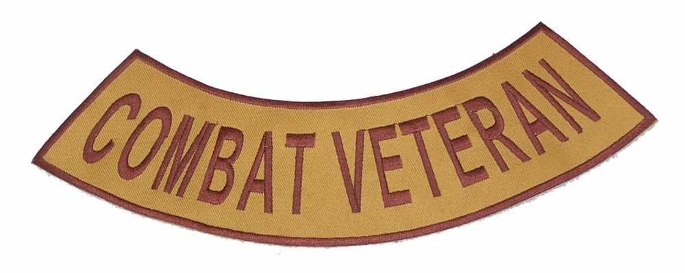 COMBAT VETERAN Brown on Gold Bottom Rocker Patch Iron on for Biker Vest Jacket