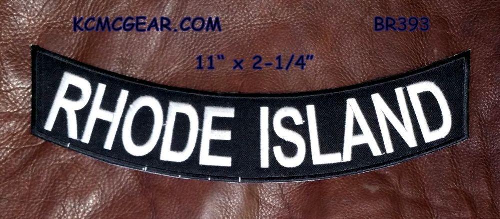 """ROAD ISLAND White on Black Back Patch Bottom Rocker for Biker Veteran Vest 10"""""""