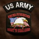 US ARMY and NEVER SURRENDER Small Badge Patches Set for Biker Vest Jacket