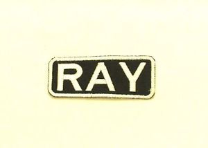 RAY White on Black Iron on Name TAG Patch for Biker Vest Jacket NB245