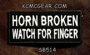 Horn Broken Watch for Finger Small Badge for Biker Vest Jacket Motorcycle Patch