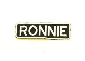 RONNIE White on Black Iron on Name TAG Patch for Biker Vest Jacket NB251