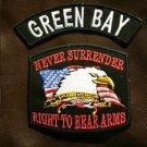 GREEN BAY and NEVER SURRENDER Small Badge Patches Set for Biker Vest Jacket