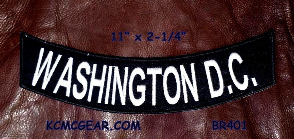 """WASHINGTON D.C White on Black Patch Bottom Rocker for Biker Veteran Vest 10"""""""