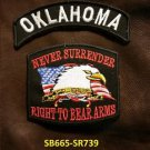 OKLAHOMA and NEVER SURRENDER Small Badge Patches Set for Biker Vest Jacket