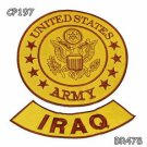 US ARMY and IRAQ Brown on Gold Iron on 2 Patches Set for Biker Jacket
