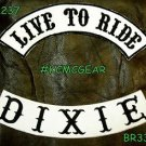 LIVE TO RIDE DIXIE Black on White Back Military Patches Set Biker Vest