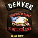 DENVER and NEVER SURRENDER Small Badge Patches Set for Biker Vest Jacket