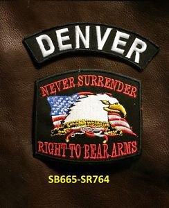 DENVER and NEVER SURRENDER Small Badge Patches Set for Biker Vest Jacket