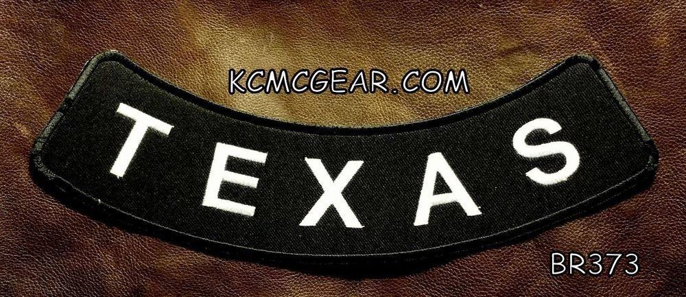 "TEXAS ROUND CORNERS Back Patch Bottom Rocker for Biker Veteran Vest Jacket 10"""