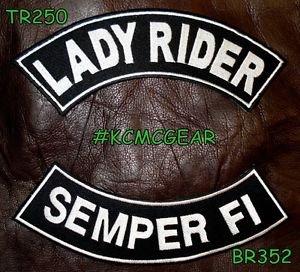 LADY RIDER SEMPER FI White on Black Back Military Patches Set for Biker Vest