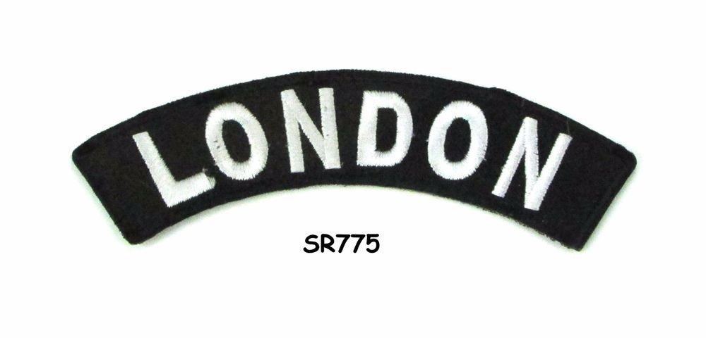 London White on Black Small Rocker Iron on Patches for Biker Vest Jacket