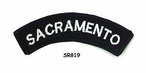 Sacramento White on Black Small Rocker Iron on Patches for Biker Vest Jacket