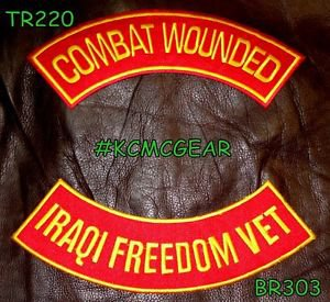 COMBAT WOUNDED IRAQI FREEDOM VET Back Military Patches Set for Biker Vest Jacket