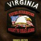 VIRGINIA and NEVER SURRENDER Small Badge Patches Set for Biker Vest Jacket