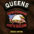 QUEENS and NEVER SURRENDER Small Badge Patches Set for Biker Vest Jacket