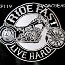 RIDE FAST LIVE HARD for Biker Motorcycle Vests Jackets Military Back Patches 10""