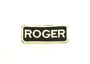 ROGER White on Black Iron on Name TAG Patch for Biker Vest Jacket NB249