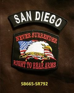 SAN DIEGO  and NEVER SURRENDER Small Badge Patches Set for Biker Vest Jacket