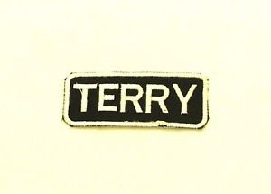 Terry White on Black Iron on Name TAG Patch for Biker Vest Jacket NB258
