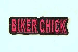 BIKER CHICK Red on Black Small Badge for Biker Vest Motorcycle Patch