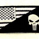 Punish-er flag White on black Small Badge Biker Vest Motorcycle Patch