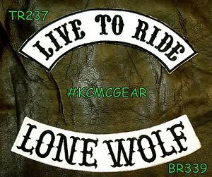 LIVE TO RIDE LONE WOLF Black on White Back Military Patches Set Biker Vest
